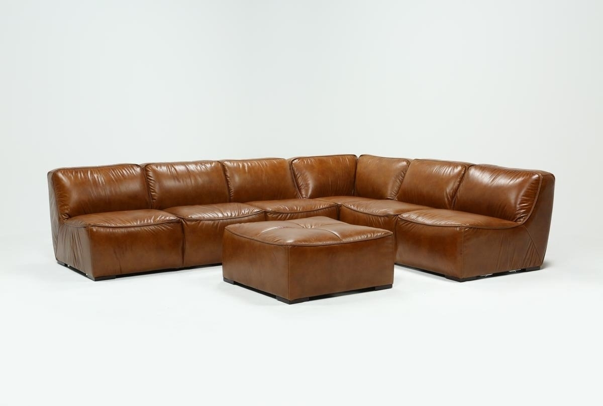 Featured Image of Burton Leather 3 Piece Sectionals With Ottoman