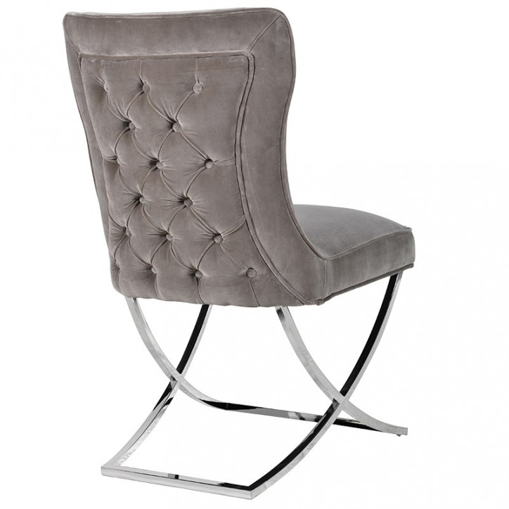 Button Back Velvet Dining Chair Regarding Grey Dining Chairs (Image 2 of 25)