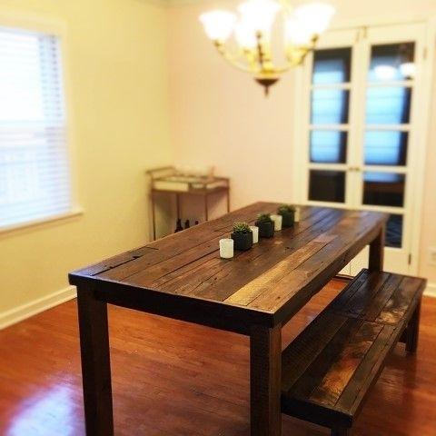 Buy A Custom Barnwood, Dining Set, Dining Table And 2 Benches In Dining Tables And 2 Benches (Image 7 of 25)