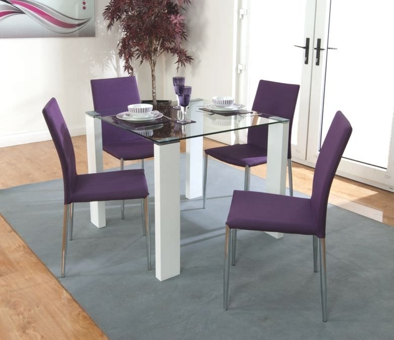 Buy Acton Dining Set With 4 Purple Chairs The Furn Shop Inside Dining Tables And Purple Chairs (Image 3 of 25)