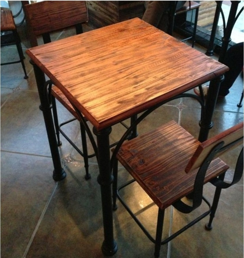 Buy American Iron Loft Vintage Wood Dining Tables And Chairs Wrought Inside Iron And Wood Dining Tables (Image 7 of 25)