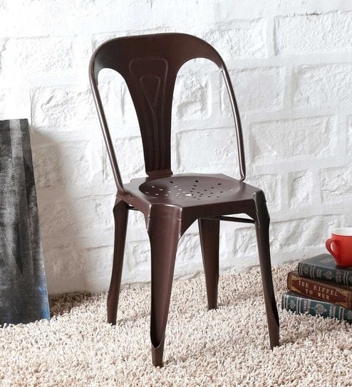 Buy Amos Metal Chair In Brown Colorbohemiana Online – Metal For Amos 6 Piece Extension Dining Sets (View 16 of 25)