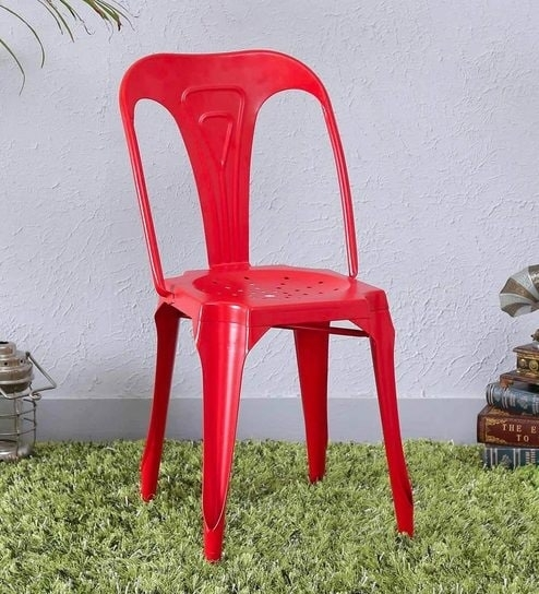 Buy Amos Metal Chair In Red Colorbohemiana Online – Metal Chairs Intended For Amos 7 Piece Extension Dining Sets (View 9 of 25)