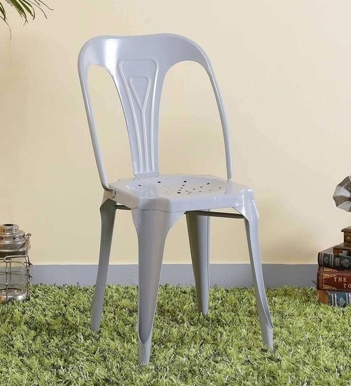 Buy Amos Metal Chair In Steel Grey Colorbohemiana Online – Metal For Amos 7 Piece Extension Dining Sets (View 10 of 25)