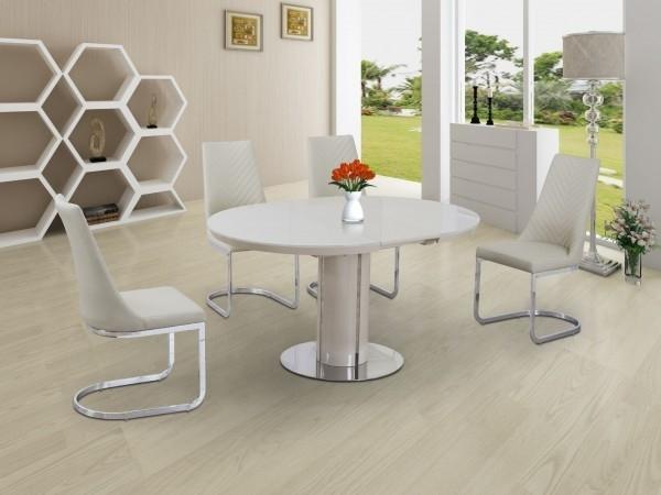Buy Annular Cream High Gloss Extending Dining Table Intended For Round High Gloss Dining Tables (Image 6 of 25)
