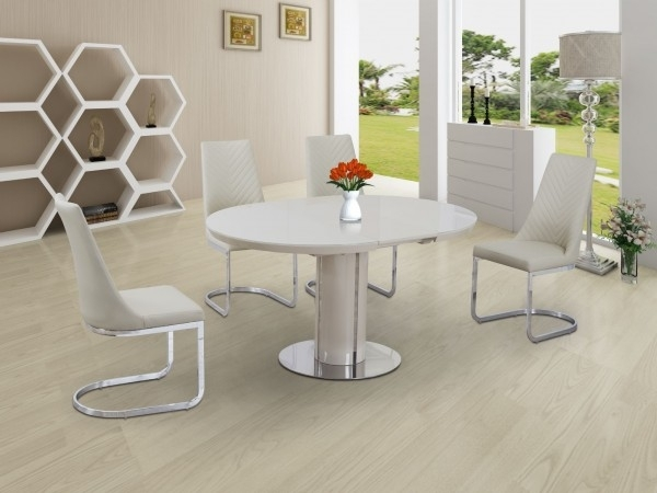 Buy Annular Cream High Gloss Extending Dining Table Regarding Cream Gloss Dining Tables And Chairs (Image 3 of 25)