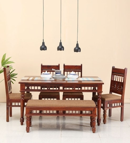 Buy Aramika Six Seater Dining Set With Bench In Honey Oak Finish With Oak 6 Seater Dining Tables (Image 8 of 25)