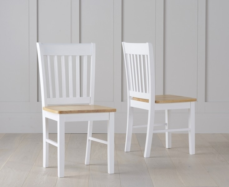 Buy Asti Oak And White Dining Chairs (Pair) The Furn Shop With White Dining Chairs (Image 2 of 25)