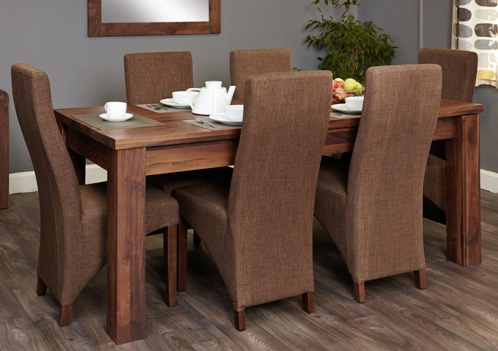 Buy Baumhaus Mayan Walnut Extending Dining Set With 6 Hazelnut With Regard To Walnut Dining Tables And 6 Chairs (Image 8 of 25)