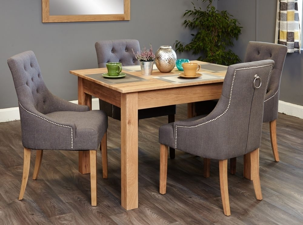 Buy Baumhaus Mobel Oak Dining Set With 4 Stone Fabric Upholstered Intended For Oak Dining Tables And Fabric Chairs (Image 4 of 25)