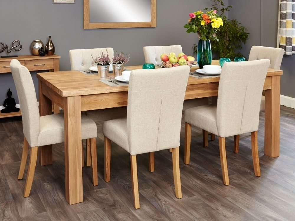 Buy Baumhaus Mobel Oak Extending Dining Set With 6 Flare Back Cream With Oak Extending Dining Tables And 6 Chairs (Image 5 of 25)