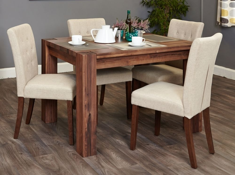 Buy Baumhaus Shiro Walnut Rectangular Dining Set With 4 Flare Back With Regard To Walnut Dining Tables (Image 2 of 25)