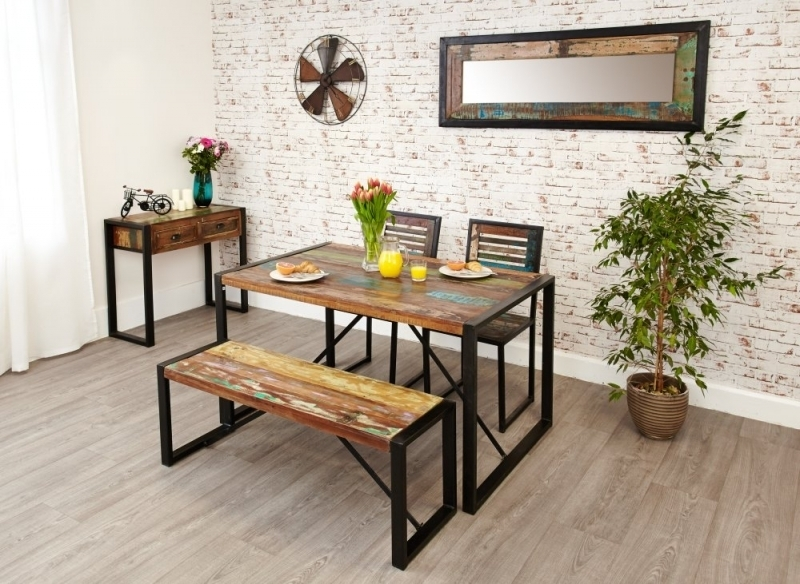 Buy Baumhaus Urban Chic Reclaimed Wood Rectangular Small Dining Set Within Dining Tables And 2 Benches (Image 8 of 25)