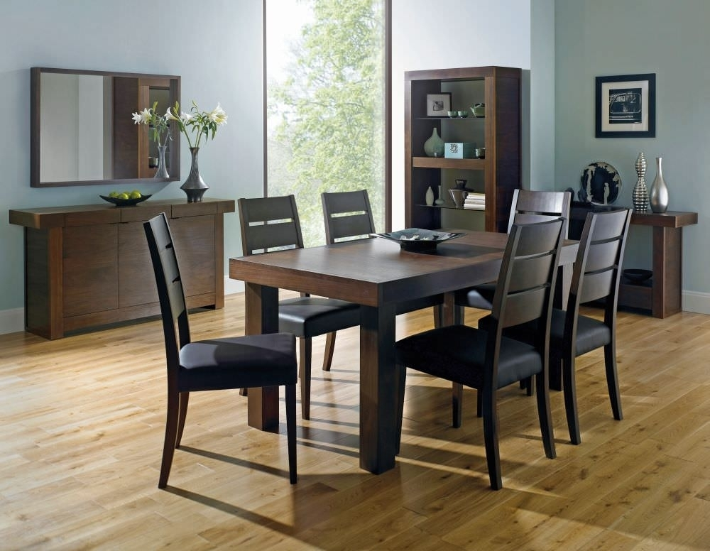 Buy Bentley Designs Akita Walnut Rectangular Extending Dining Set With Extending Dining Tables With 6 Chairs (Image 7 of 25)
