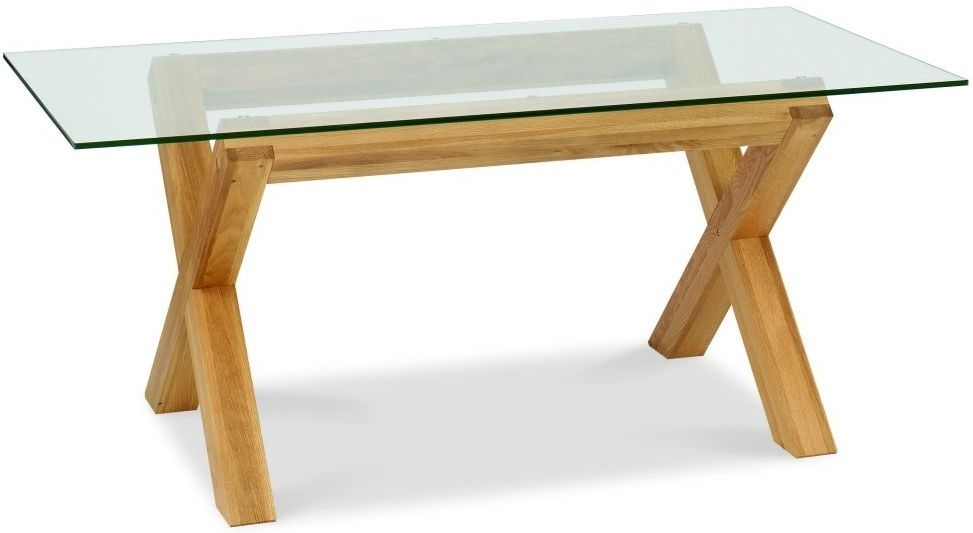 Buy Bentley Designs Lyon Oak Glass Rectangular Dining Table – 180Cm Inside Round Glass And Oak Dining Tables (Image 3 of 25)
