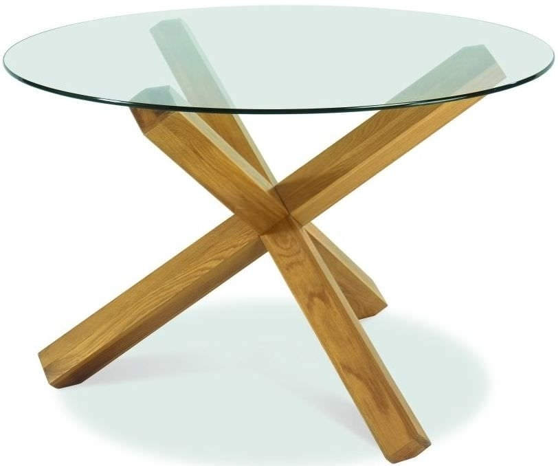 Buy Bentley Designs Lyon Oak Glass Top Round Dining Table – Dia In Glass Oak Dining Tables (Image 4 of 25)