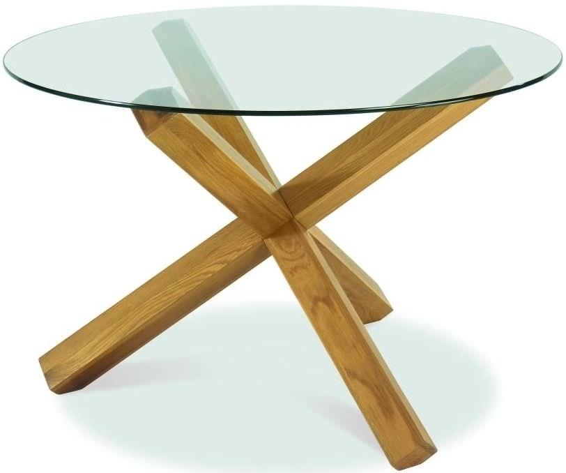 Buy Bentley Designs Lyon Oak Glass Top Round Dining Table – Dia Regarding Oak Glass Top Dining Tables (Image 6 of 25)