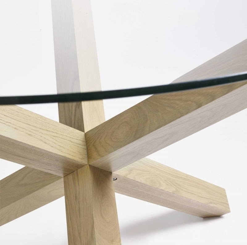 Buy Bentley Designs Turin Aged Oak Glass Top Round Dining Table Regarding Glass Top Oak Dining Tables (Image 6 of 25)