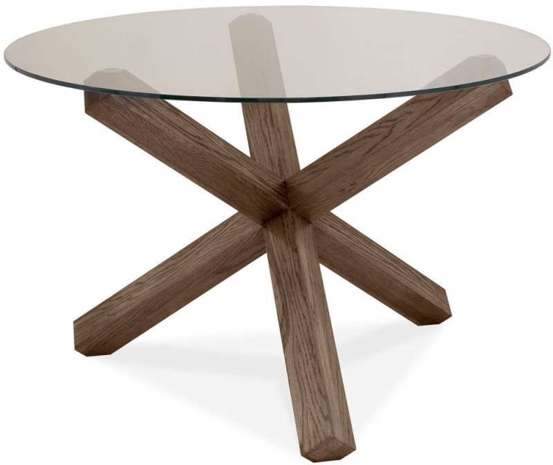 Buy Bentley Designs Turin Dark Oak Round Glass Dining Table – 120Cm For Oak Glass Dining Tables (View 17 of 25)