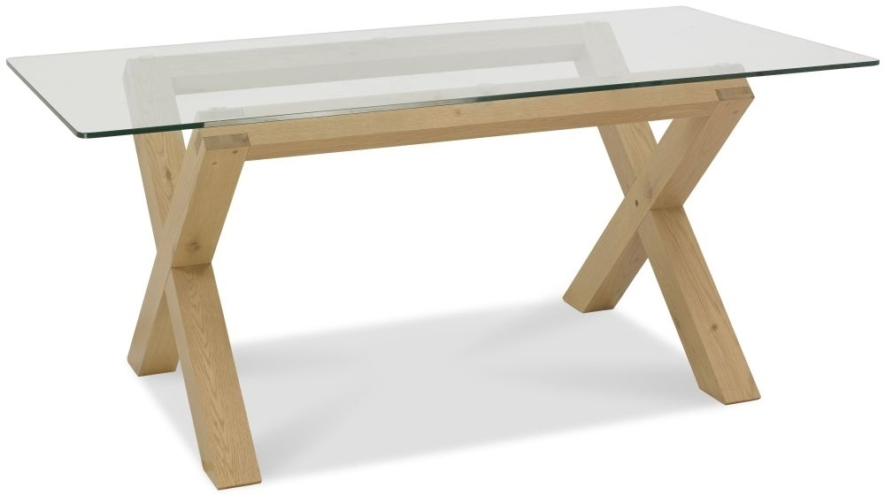 Buy Bentley Designs Turin Light Oak Glass Top Rectangular Dining Inside Glass Oak Dining Tables (Image 6 of 25)