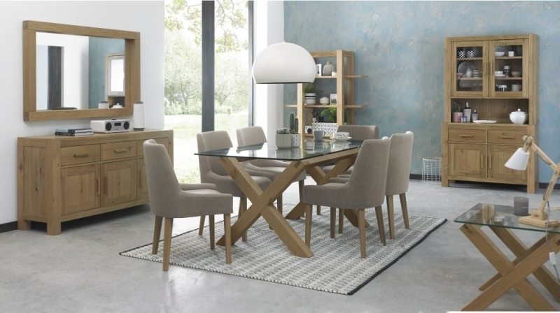 Buy Bentley Designs Turin Light Oak Glass Top Rectangular Dining Intended For Oak Glass Top Dining Tables (Image 8 of 25)