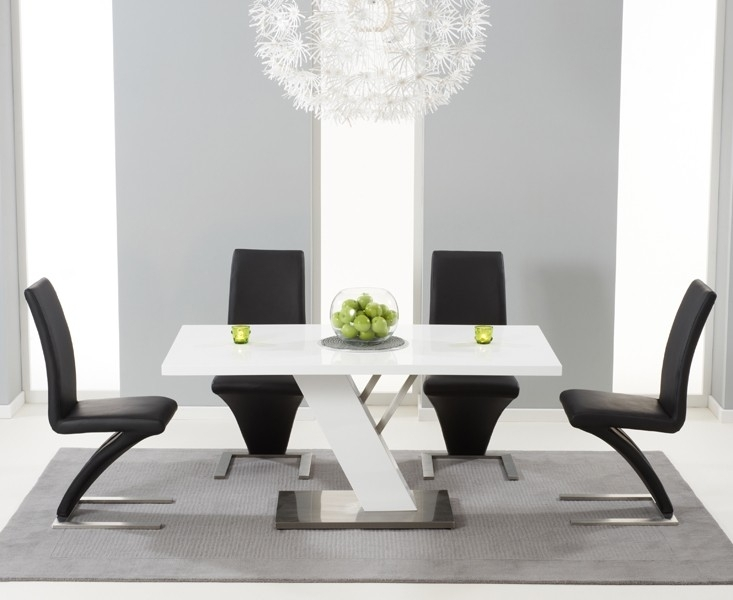 Buy Bianco Modern High Gloss White Dining Table Set For High Gloss White Dining Tables And Chairs (Image 6 of 25)