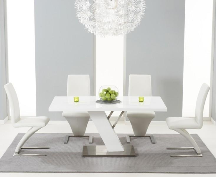 Buy Bianco Modern High Gloss White Dining Table Set In Gloss White Dining Tables And Chairs (Image 5 of 25)