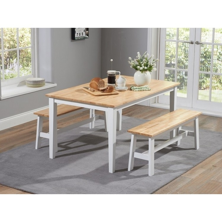 Buy Brampton Painted Furniture Dining Set From Oak Furniture House For Dining Tables And 2 Benches (Image 9 of 25)