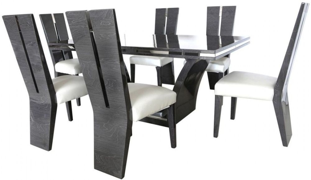 Buy Caria Dark Grey Walnut Rectangular Dining Set With 6 Chairs With Walnut Dining Tables And 6 Chairs (Image 10 of 25)