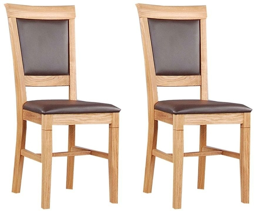 Buy Clemence Richard Oak Leather Seat Dining Chair (Pair) 020 Online Within Oak Leather Dining Chairs (Image 6 of 25)