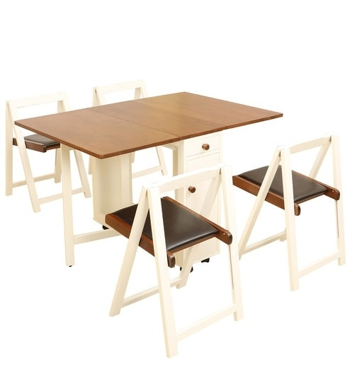 Buy Compact Four Seater Folding Dining Set In White & Walnut Colour For Compact Folding Dining Tables And Chairs (Image 1 of 25)