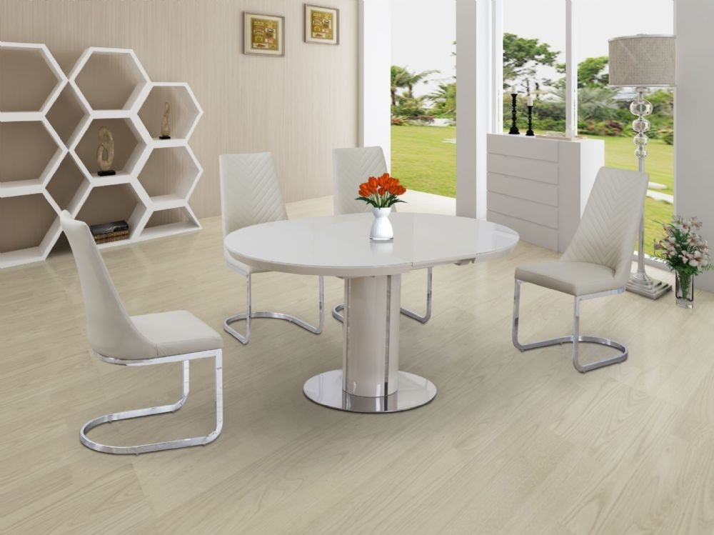 Buy Cream Small Round Extendable Dining Table Today With High Gloss Cream Dining Tables (Image 3 of 25)