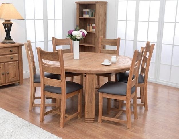 Buy Danube Oak Round Dining Table – 156Cm Online – Cfs Uk Inside Oak Round Dining Tables And Chairs (View 20 of 25)