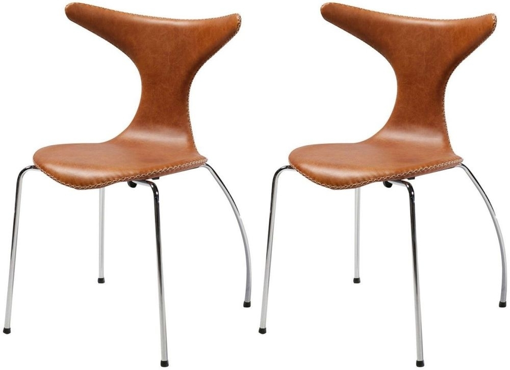 Buy Dolphin Light Brown Leather Dining Chair With Chrome Legs (Set In Chrome Leather Dining Chairs (Image 4 of 25)