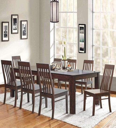 Buy Eight Seater Dining Set In Cappuccino Finishdhep Furniture Throughout Dining Tables For Eight (Image 4 of 25)