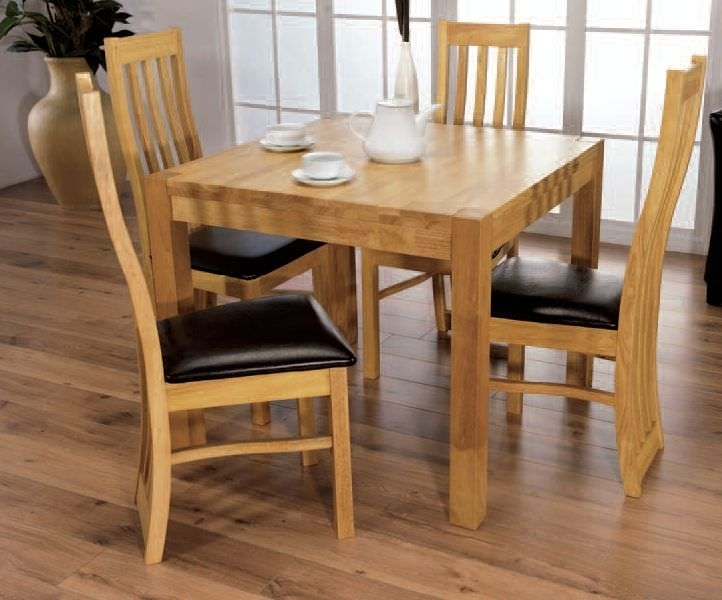 Buy Eve Natural Oak Square Dining Set With 4 Chairs – 90Cm Online Regarding Cheap Oak Dining Sets (View 6 of 25)