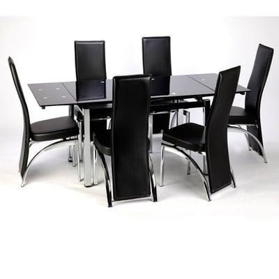 Buy Extending Dining Table With 6 Chairs In Table & Chair Sets From Regarding Black Glass Extending Dining Tables 6 Chairs (Image 7 of 25)