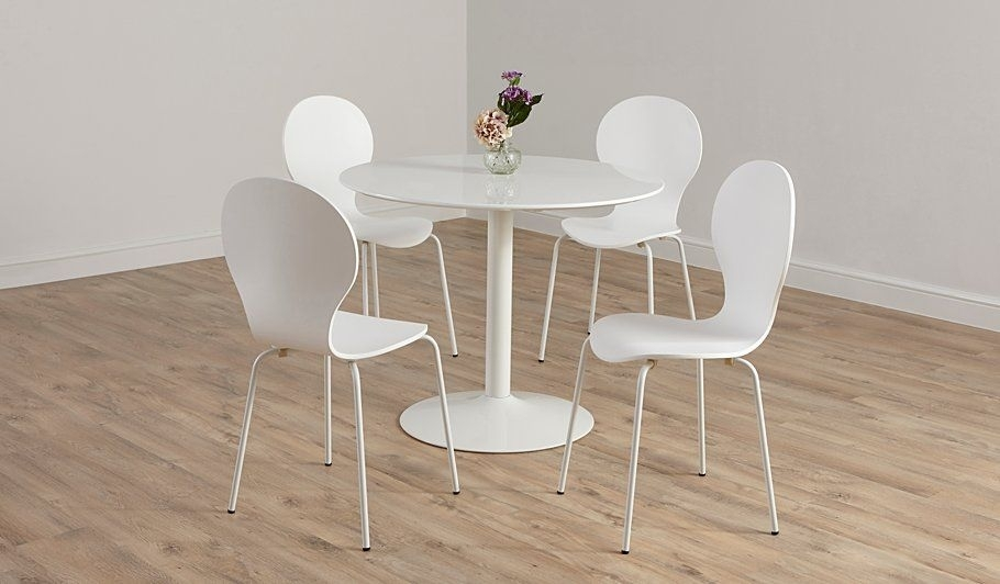 Buy George Home Wyatt Circular Dining Table And 4 Chairs – White Throughout White Circular Dining Tables (Image 3 of 25)