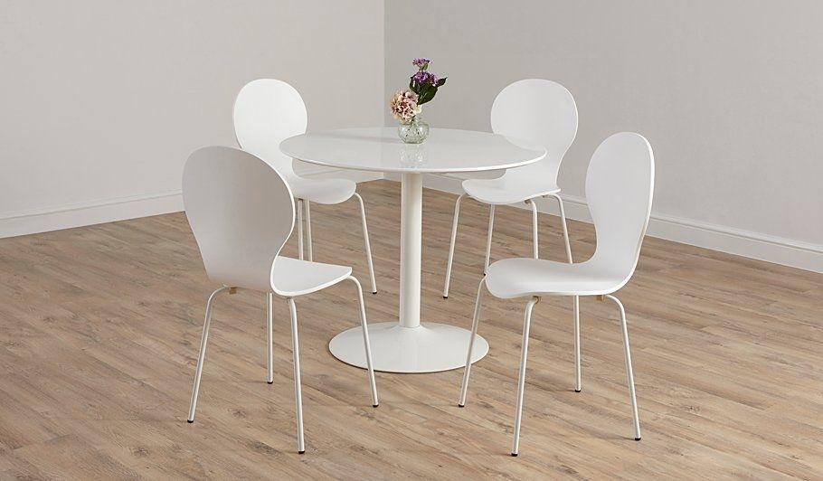 Buy George Home Wyatt Circular Dining Table And 4 Chairs – White Throughout White Circular Dining Tables (View 25 of 25)