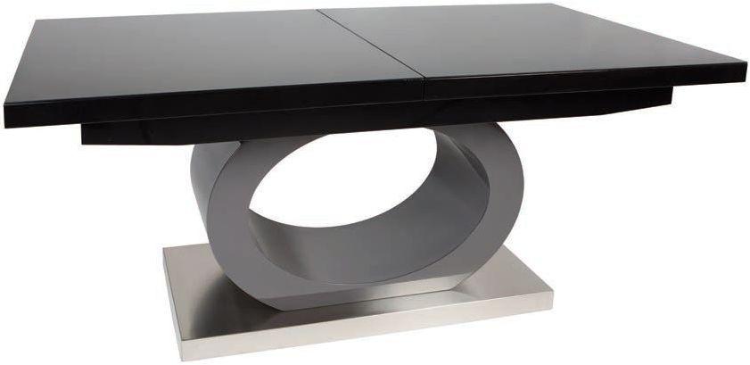 Buy Greenapple Saturn Black Glass Rectangular Extending Dining Table Regarding Black Extending Dining Tables (Image 7 of 25)