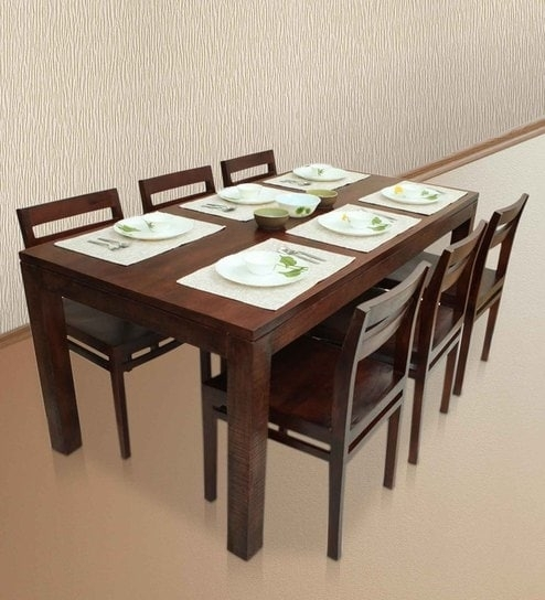 Buy Gresham-Barcelona Six Seater Dining Table Set In Mahogany Finish for Barcelona Dining Tables