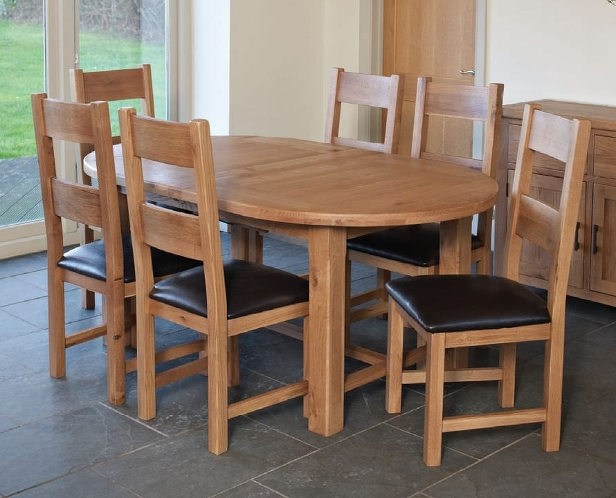 Buy Hampshire Oak Oval Extending Dining Set With 6 Padded Seat Intended For Oval Extending Dining Tables And Chairs (Image 4 of 25)
