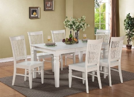 Buy Harmonizing Linen Wood Dining Table Set With 4/6 Chairs, White Intended For White Dining Tables With 6 Chairs (Image 7 of 25)