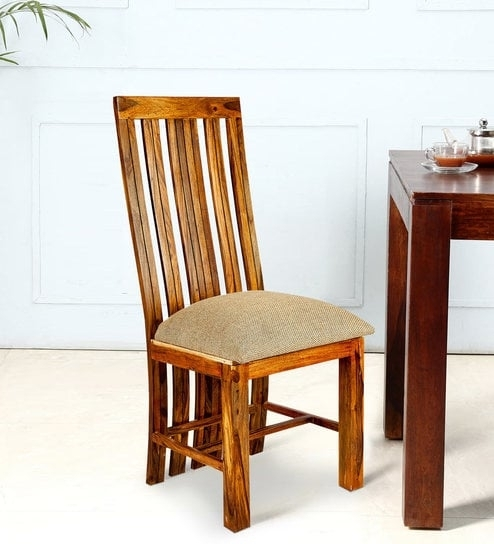 Buy High Back Sheesham Wood Dining Chair In Golden Oak Finish Inside Sheesham Wood Dining Chairs (Image 1 of 25)