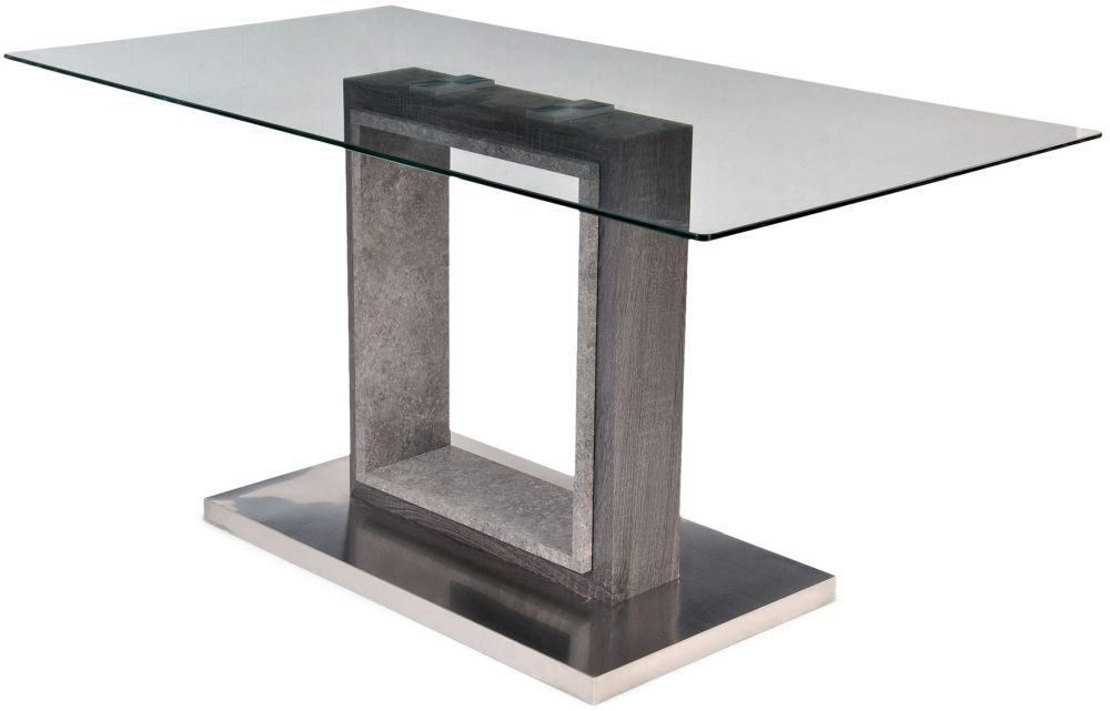 Buy Hilton Grey High Gloss Dining Table With Glass Top – 150Cm Pertaining To Grey Gloss Dining Tables (Image 3 of 25)