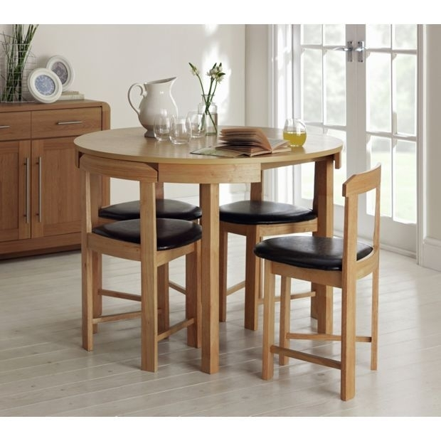 Buy Hygena Alena Circular Dining Table And 4 Chairs – Solid Oak At Within Circular Dining Tables For (View 13 of 25)