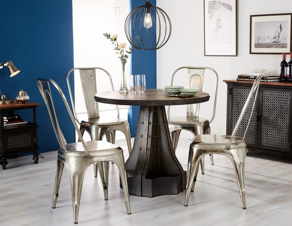 Buy Indian Hub Evoke Iron And Wooden 90Cm Dining Set – Industrial Pertaining To Indian Dining Tables And Chairs (View 25 of 25)