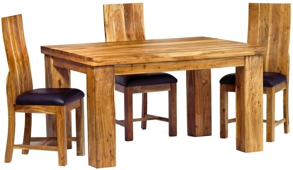 Buy Indian Hub Metro Acacia Dining Set With 4 Chairs – 140Cm Online Intended For Indian Dining Tables And Chairs (Image 6 of 25)
