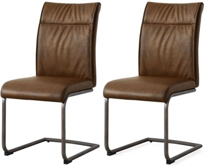 Buy Industrial Faux Leather High Back Dining Chair (Pair) Online With Regard To High Back Leather Dining Chairs (Image 6 of 25)