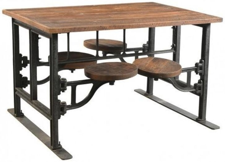 Buy Iron And Wood Industrial 4 Seater Rectangular Dining Table With Intended For Iron And Wood Dining Tables (Image 8 of 25)